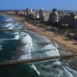 Aerial of Durban City and coast, Kwazulu-Natal Province, South Africa.